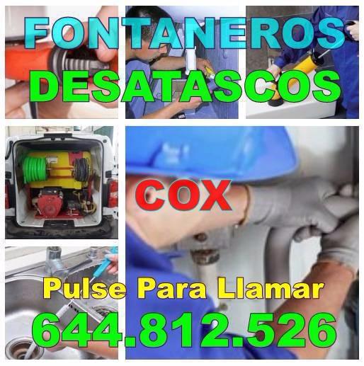 Fontaneros Cox & Desatascos Cox baratos urgentes 24H